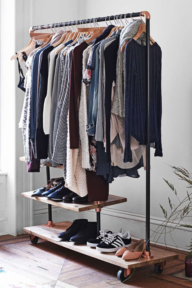 Add industrial charm to your room with this freestanding clothing rack. Check out the link below for more Fall closet tips.   http://blog.laurelandwolf.com/best-dressed-closets-wardrobe-organization-techniques-for-fall/?utm_source=source=googleplus&utm_medium=googleplus&utm_content=Closet_oranization=9_11