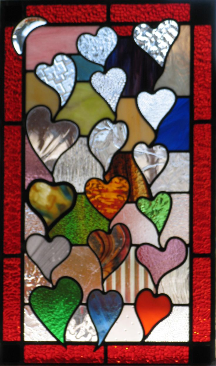 Hearts in stained glass