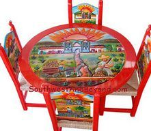 mexico furniture. hand painted carved mexican furniture 01a pueblo design table set mexico