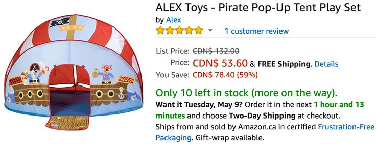 Amazon Canada Deals: Save 59% on ALEX Toys  Pirate Pop-Up Tent Play Set 65% on Fisher-Price Laugh & Learn http://www.lavahotdeals.com/ca/cheap/amazon-canada-deals-save-59-alex-toys-pirate/197373?utm_source=pinterest&utm_medium=rss&utm_campaign=at_lavahotdeals