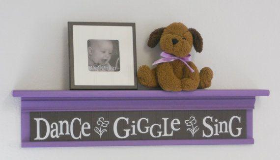 "Brown and Purple Baby Room Ideas - Dance Giggle Sing - Sign on 30"" Shelf - Flower Nursery Wall Decor"