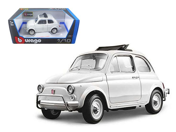 1968 Fiat 500 L White 1/18 Diecast Model Car by Bburago - Brand new 1:18 scale diecast 1968 Fiat 500 L by Bburago. Has steerable wheels. Brand new box. Rubber tires. Has opening hood, doors and trunk. Made of diecast with some plastic parts. Detailed interior, exterior, engine compartment. Dimensions approximately L-7, W-3.5, H-3 inches. Please note that manufacturer may change packing box at anytime. Product will stay exactly the same.-Weight: 4. Height: 8. Width: 15. Box Weight: 4. Box…