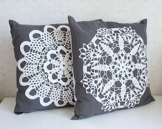 Set of two pillow covers.    I made these pillow covers from vintage cotton fabrics and hand-crocheted vintage doilies.    Front side is grey canvas-like