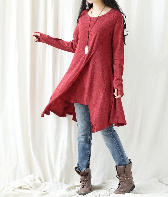 Cotton asymmetrical dress/ Long t shirt/ Long bottoming by MaLieb
