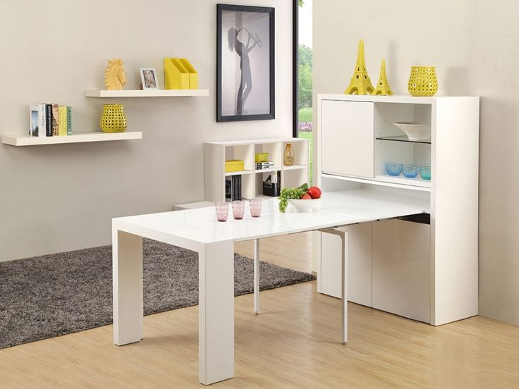 Buffet Table Extensible Astuceo 4 Rallonges Mdf Laque Blanc