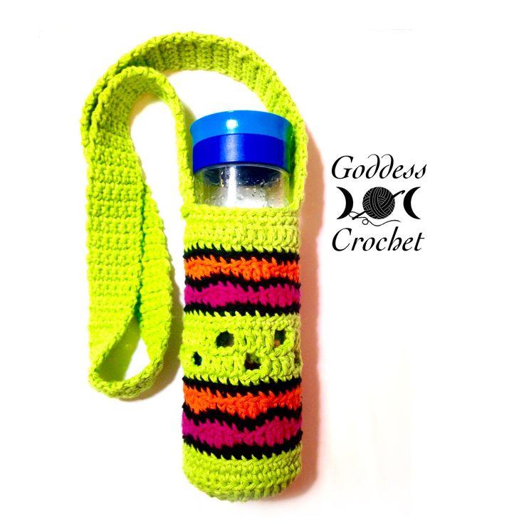A free crochet pattern for a fun water bottle holder.