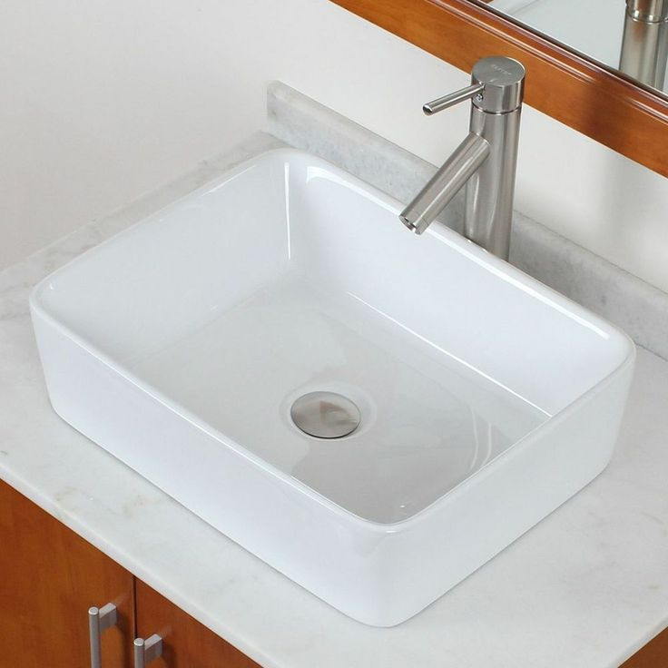 Bathroom Square White Ceramic Porcelain Vessel Sink & Nickel Faucet Combo