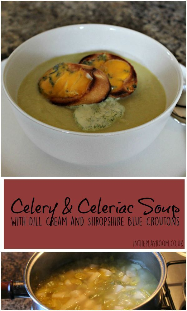 Celery and celariac soup with dill cream and shropshire blue croutons. Great tasty and healthy soup recipe for autumn / fall