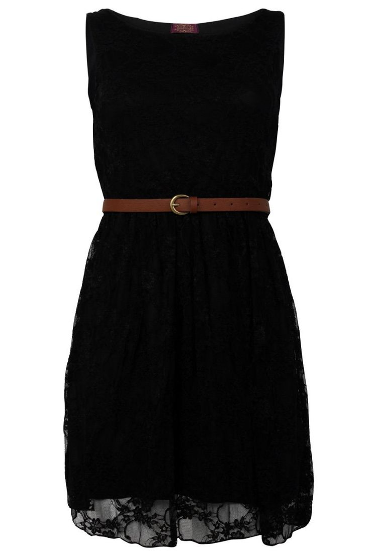 90Z New Womens Black Party Lace Belt Skater Skirt Smart Dress Size 12/14