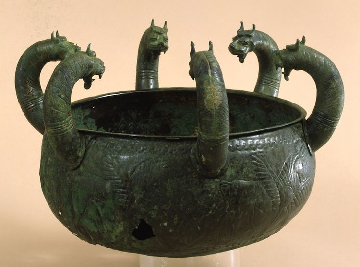 Etruscan lebes, bronze six headed lebes from the Regolini Galassi tomb, Cerveteri, 7th century B.C. Vatican Museums, Rome