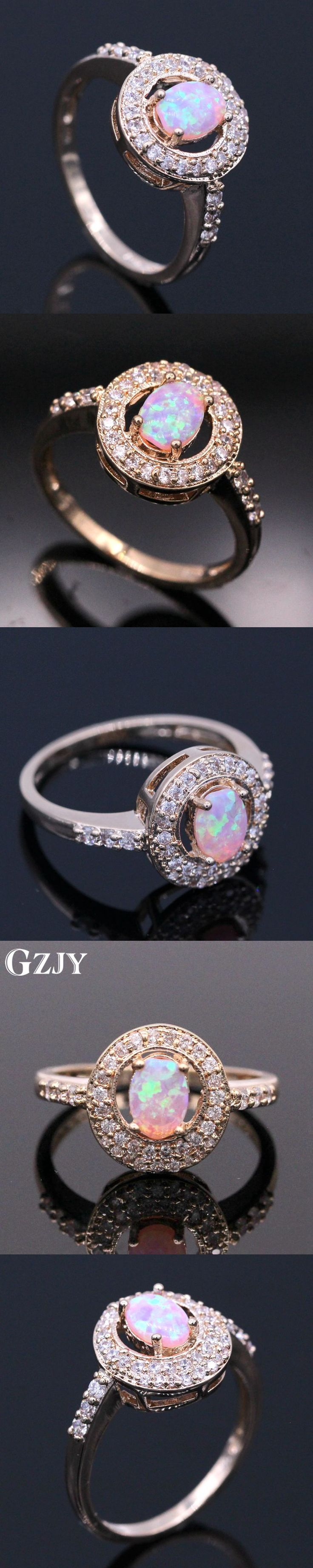 GZJY Fashion Jewelry Pink Fire Opal Cubic Zirconia Female Ring Bijoux Wedding Champagne Gold Color Wedding Rings For Women