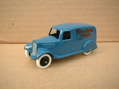 "A DINKY TOYS COPY MODEL 28 SERIES TYPE 2 DELIVERY VAN ""FIRESTONE TYRES"" -  This site is British, it even has Dinky toy spare parts."