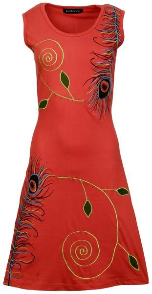 Sleeveless Dark Orange Dress with Colorful Mayur prints and Embroidery
