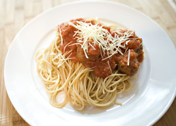 Giada Spaghetti and Meatballs. These are the best ones I have ever eaten. (tip cut parmesian to 1/2 cup and we use Turkey)! Yum!