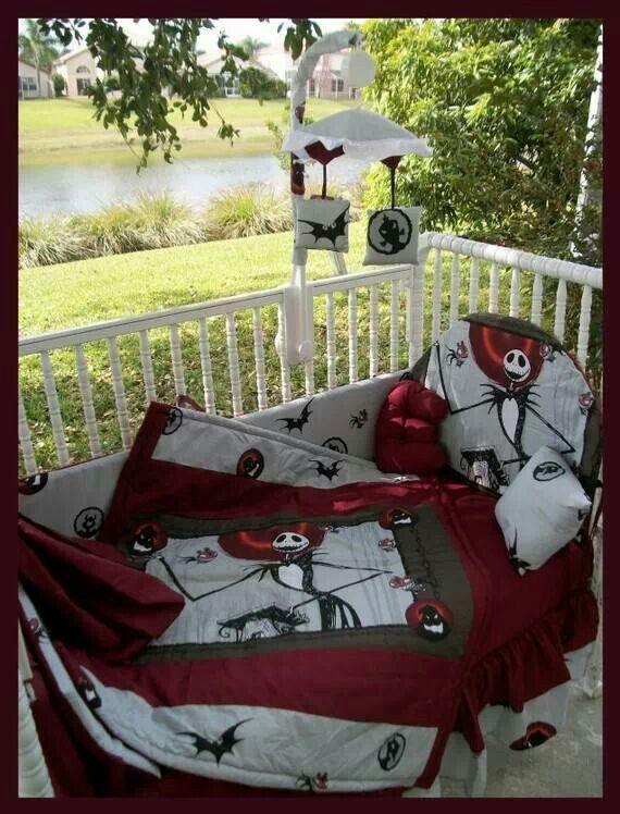 Jack Skellington nursery blankets and setup