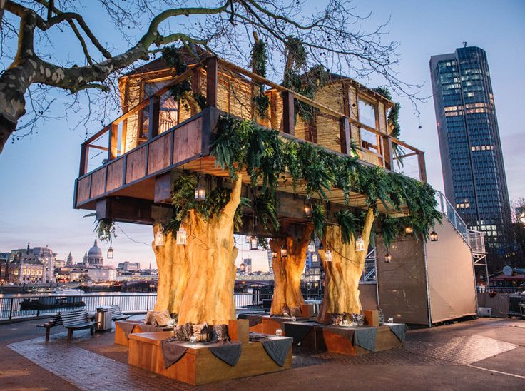 Virgin Holidays have built a South African inspired treehouse on London's Southbank, to promote travel to South Africa. The temporary treehouse installation (only there for one week) was inspired by the Lion Sands Game Reserve accommodation in South Africa. The treehouse is positioned 35-feet ab