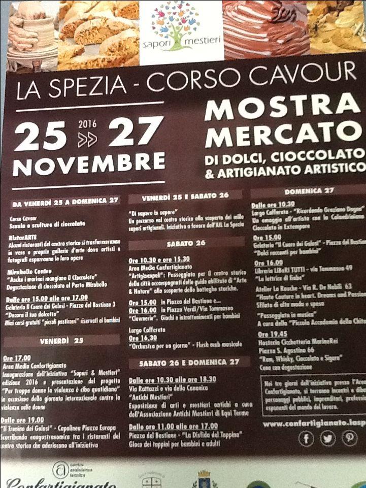 Dal 25 al 27 novembre alla Spezia la mostra mercato più dolce che c'é . Cioccolato, dolci, artigianato artistico, arte, spettacoli, laboratori artigianali Sapori e Mestieri