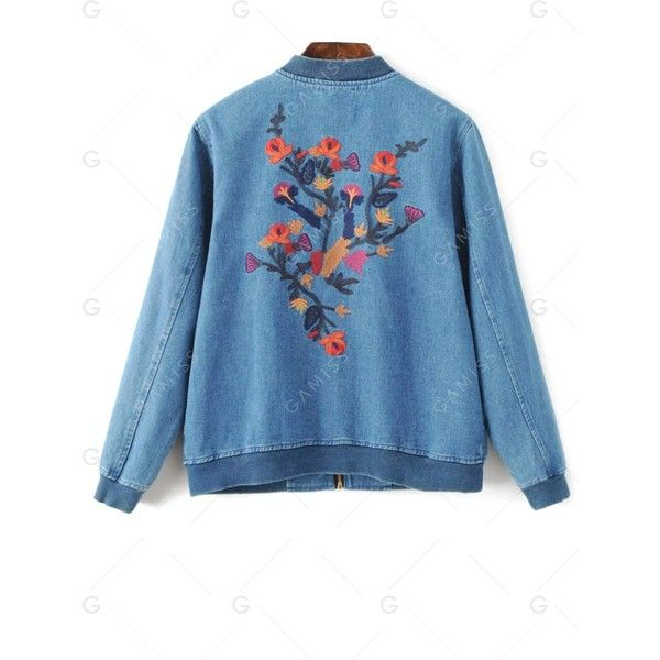 Embroidered Denim Bomber Jacket ($18) ❤ liked on Polyvore featuring outerwear, jackets, flight jacket, embroidered jacket, blue bomber jacket, blue denim jacket and bomber jackets