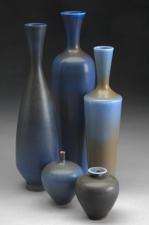Berndt Friberg Vases for Gustavsberg. 1967. Sweden's master potter, Berndt Friberg was originally employed as thrower to Wilhelm Kåge and Stig Lindberg at Gustavsberg's pottery. His work is sensuous and at it's best when treated with his characteristic matt glazes in the oriental manner, which were painstakingly applied to achieve an astonishing structure and depth.