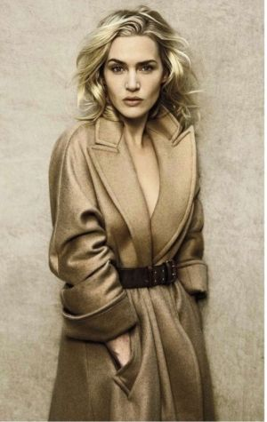 Kate Winslet in a classic camel coat//