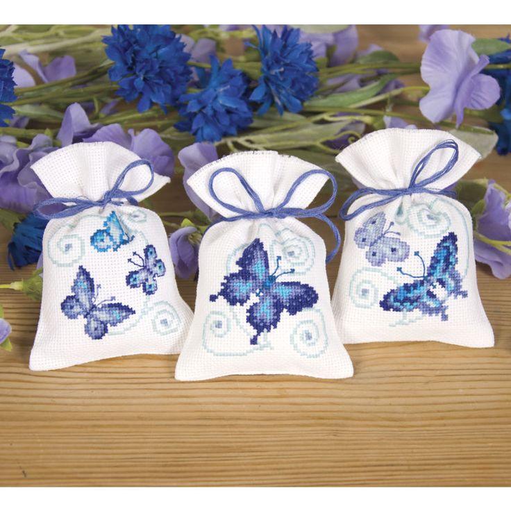 Blue Butterflies Sachets - Cross Stitch, Needlepoint, Stitchery, and Embroidery Kits, Projects, and Needlecraft Tools | Stitchery