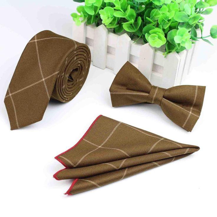 3 PCS Men Strip Bowtie Tie Pocket Square Wedding Dress Suits Bow Tie Handkerchief Set Lote
