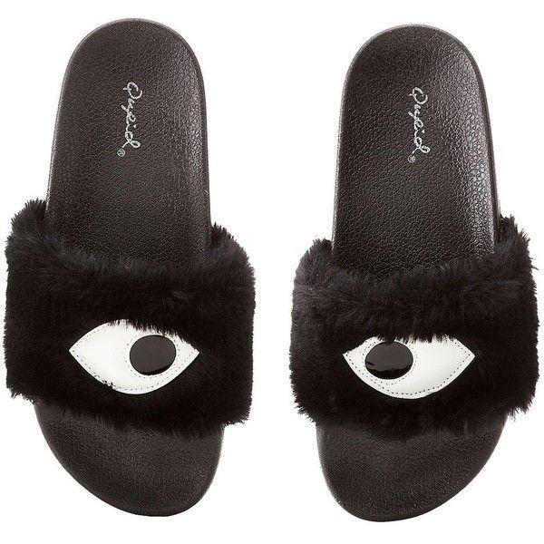 Qupid Faux Eye Slide Sandals ($14) ❤ liked on Polyvore featuring shoes, sandals, black, rubber slide sandal, rubber sandals, qupid sandals, flat sandals and rubber shoes