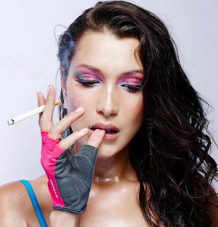 Model Bella Hadid wears 80's inspired makeup for LOVE Magazine. Photo: Rankin