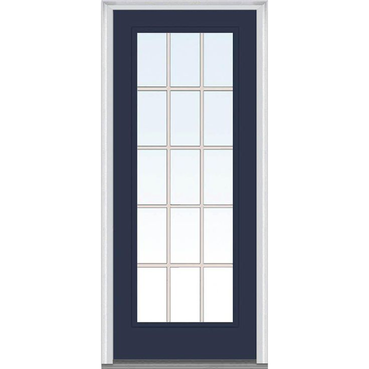 Milliken Millwork 31.5 in. x 81.75 in. Classic Clear Glass GBG Full Lite Painted Majestic Steel Exterior Door, Naval