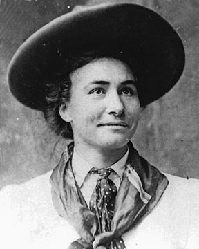 Bertha Blancett broke the glass ceiling as a pioneer who was a female rodeo competitor.  She was a famous bronc rider in Cheyenne and moved on to become a part of Wild West shows and even acting.  She opened the door for other women to become rodeo riders..  This depicts  a different woman than the one usually portrayed in Western films.