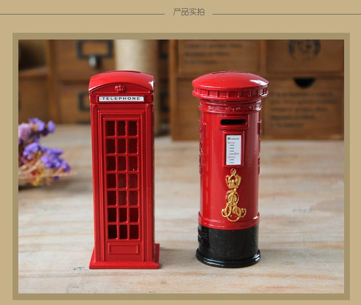 1PC Vintage Iron Phone Mailbox Piggy Bank Home Furnishing Creative Student Gift Table Decoration Money Boxes JL 098