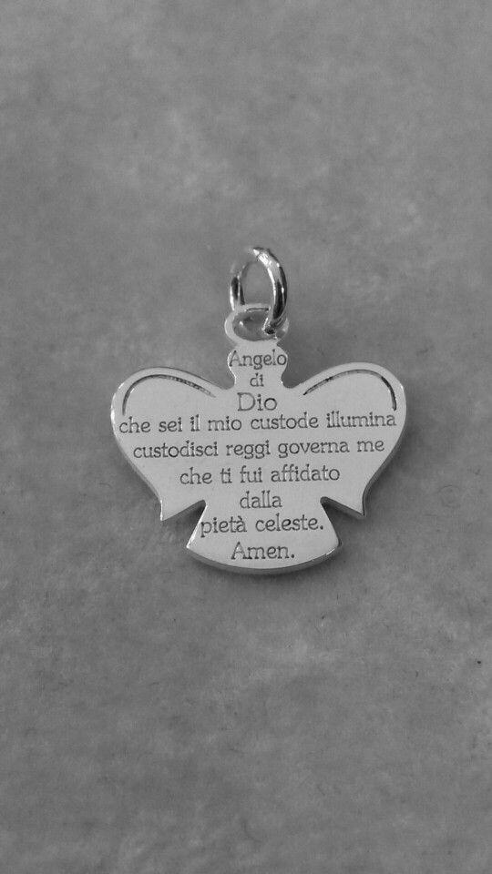 Ciondolo in argento con incisa la preghiera  Angelo di Dio