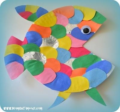 #poisson - assiette en carton - écailles colorées