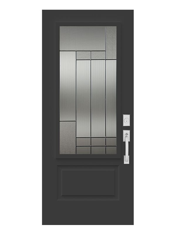 The Wide Reed glass and retro stained glass set this model apart. Its asymmetrical composition is a perfect match for 1950s and 1960s bungalows and will complement any door with style.Designer's advice : looks great with Pinhead glass.
