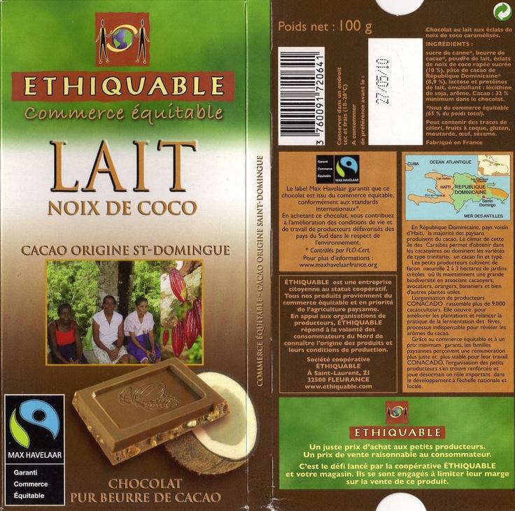 tablette de chocolat lait gourmand ethiquable st domingue lait noix de coco