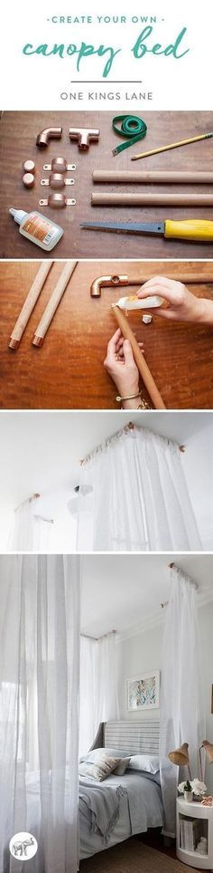 A Gorgeous Canopy Bed DIY Idea to Try -- Want a custom dreamy, feminine canopy bed? Try making it yourself with our easy DIY instructions!:
