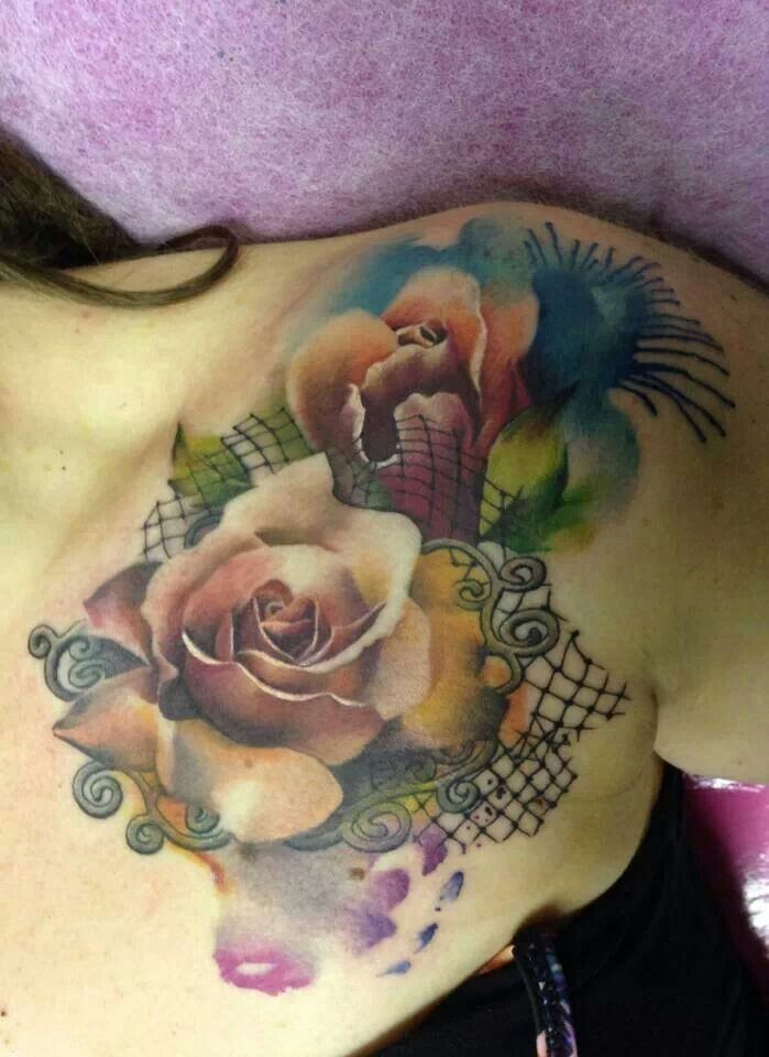 Good looking rose watercolor tattoos on chest for girls for Good girl tattoos