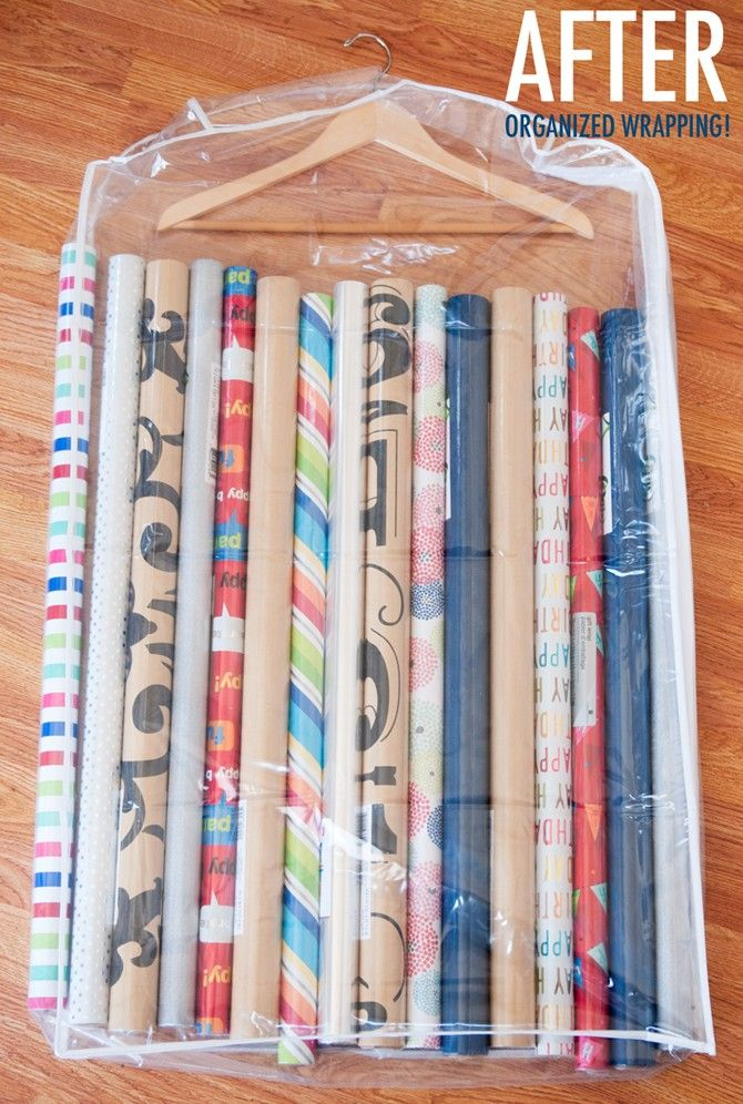 15 Ridiculously Smart Organization Hacks - Store wrapping paper in a clear garment bag and hang in a closet.