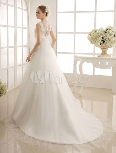 Robe de mariée avec perle de col V à traîne chapelle - Milanoo.com