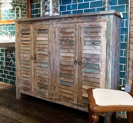 Distressed Cabinet With Shuttered Doors Love The Washed