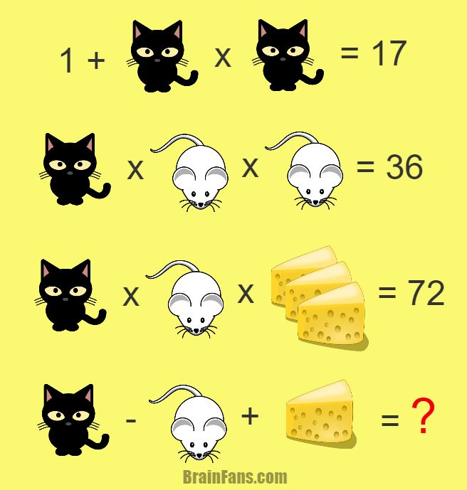 Brain teaser - Number And Math Puzzle - hard math - Try this hard math puzzle. Cat, cheese and mouse. All to test your brain. Take a paper and solve this hard one!