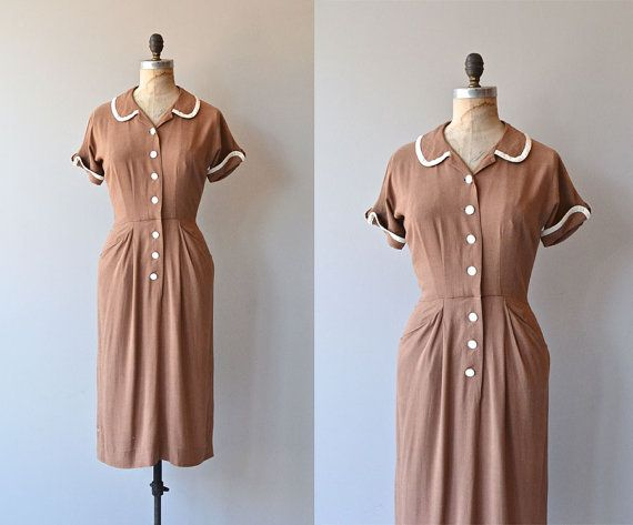 Lit Review dress • vintage 1950s dress • linen 50s shirtdress Vintage 1950s warm brown linen dress, very soft and pliable with white trimmed peter pan collar and cuffed sleeves, big white buttons, nipped waist, hip pickets and slender skirt.