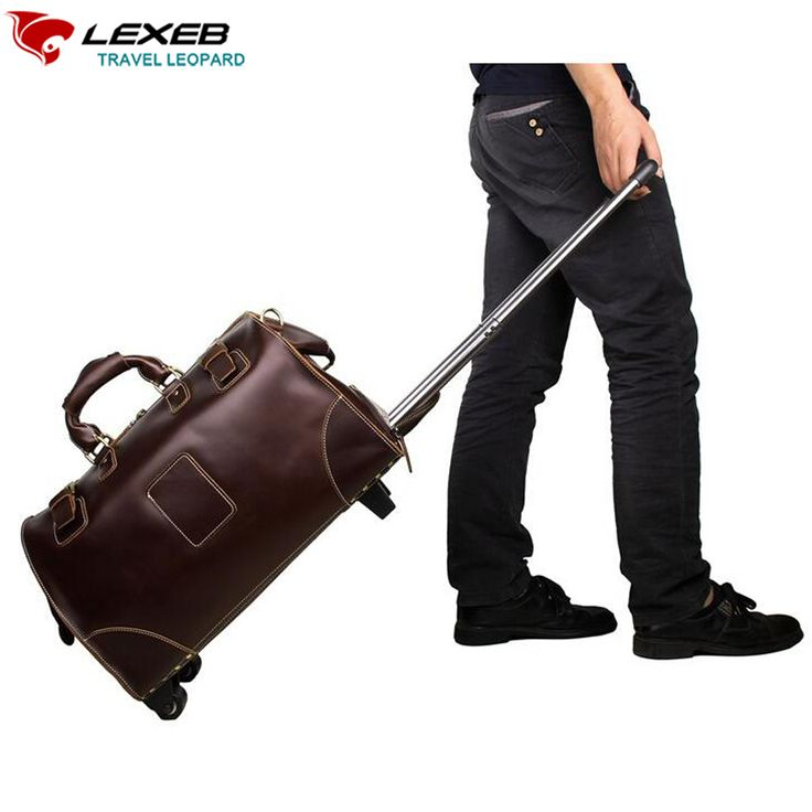 Find More Rolling Luggage Information about Lexeb Brand Suitcase 18Inch Cow Leather Traveling Bag For Men Calfskin On 2 Wheels Board Chassis Bags Cowhide Rolling Luggage ,High Quality rolling luggage,China brand luggage Suppliers, Cheap luggage brand from LEXEB Luggage & Bags Co.,Ltd Store on Aliexpress.com