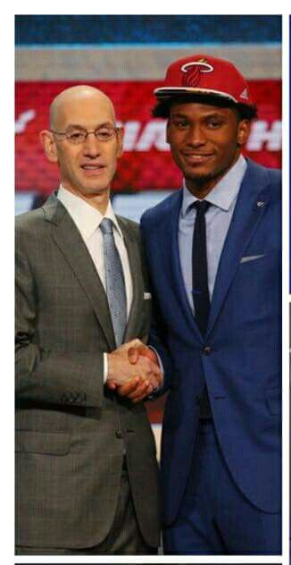 Commissioner Adam Silver and Justise Winslow