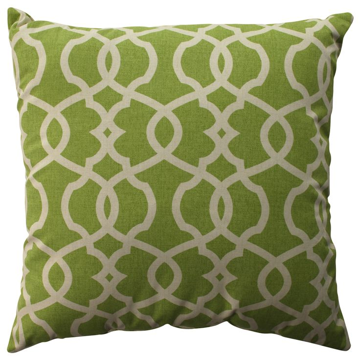 Pillow Perfect Lattice Damask Leaf 24.5-inch Decorative Pillow by Pillow Perfect Great deals ...