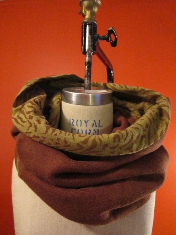 Hemp & organic cotton infinity scarf with funky animal print for women