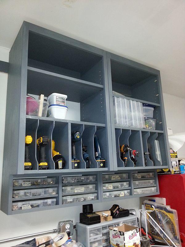 Garage Storage: (using Kitchen Cabinet) Cordless Tools, Screws, Nail Guns,  And Nails. Tons Of Possibilities!