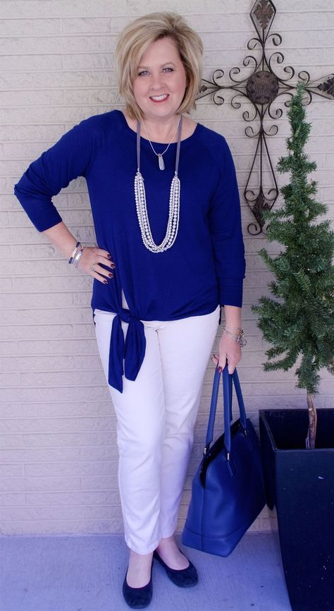 50 IS NOT OLD   A FLATTERING STYLE TOP   Tie-Front   White after Labor Day   Fashion over 40 for the everyday woman