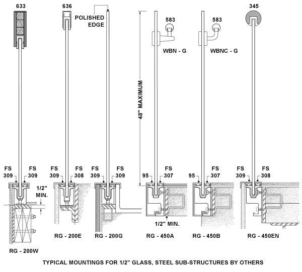 glass base channel for stair rail construction drawing - Google Search