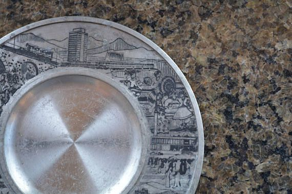 Malaysia Souvenir Pewter Silver Tone Etched Collectible Plate